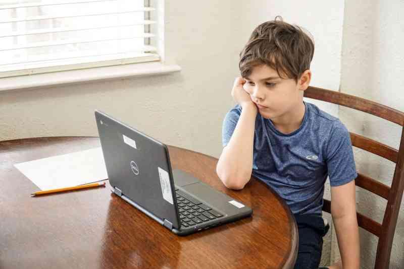 niño tomando clases en línea