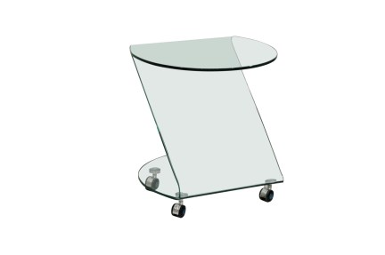 Mesa auxiliar de cristal.