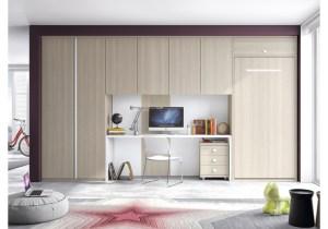 Espectacular y elegante integración de la cama en armariada con zona estudio incluida. Formas 15 de Glicerio Chaves.