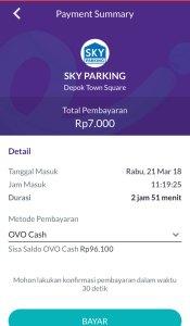 Cara Pembayaran Sky Parking Menggunakan OVO Cash - Step 5
