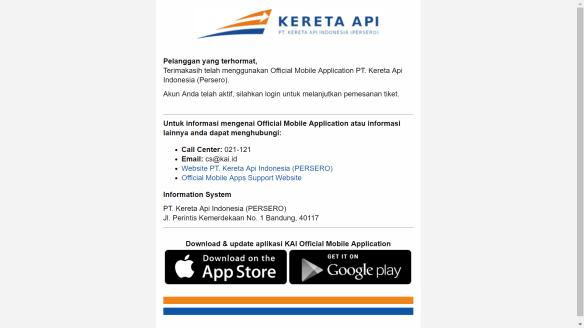 Website PT KAI Registrasi Akun Telah Aktif