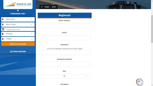 Website PT KAI Registrasi Akun