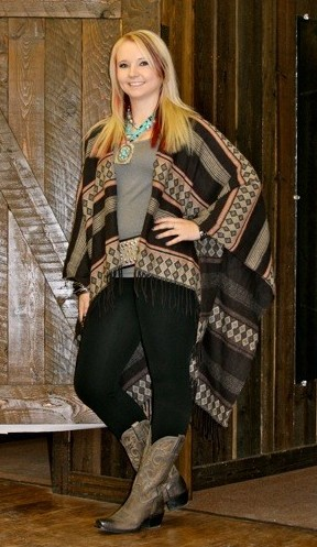 grey and black aztec poncho