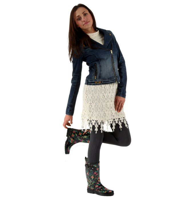 Floral prints are trending this year, especially with spring fashion launches. So are rain boots. Lace is, has, and will remain a popular texture, and a well-fitting denim jacket is a classic staple garment. Leggings couldn't fit in better with this feminine outfit.