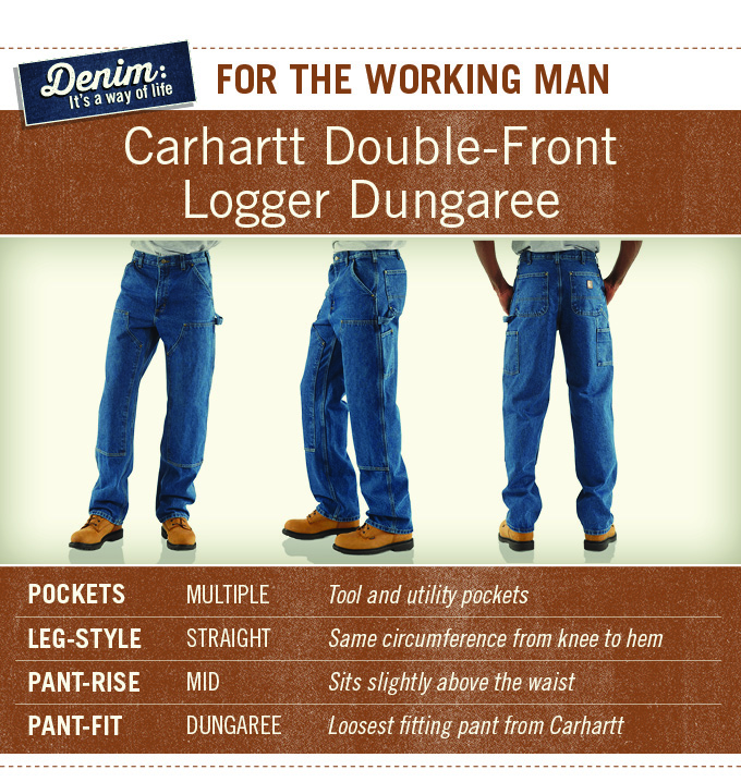 Carhartt Logger Dungarees are for the working man and feature multiple pockets, straight leg, mid-rise, and hammer loop.