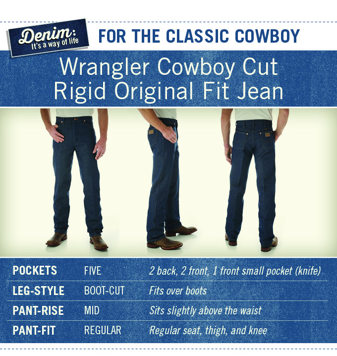 Wrangler 13MWZ is the Cowboy Cut Rigid Original Fit Jean. 5 pockets, boot-cut, mid-rise, with regular fit.