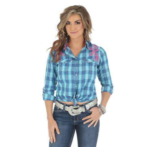 Wrangler Rock 47 Pink and Blue Snap Shirt