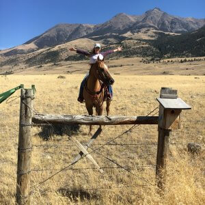 Stephanie Quayle in Montana on horseback