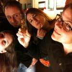Stephie Coleman, Jeremy Darrow, Bryn Davies and KC Groves seriously considering Kopi Luwak coffee beans.