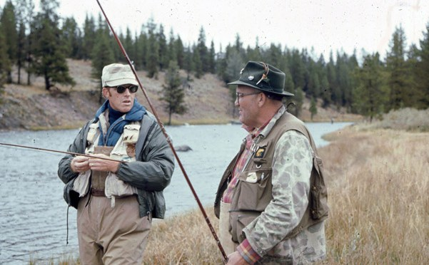 Charlie Brooks and Harry Murray prepare to fish hole number two on the Madison in the Yellowstone National Park.