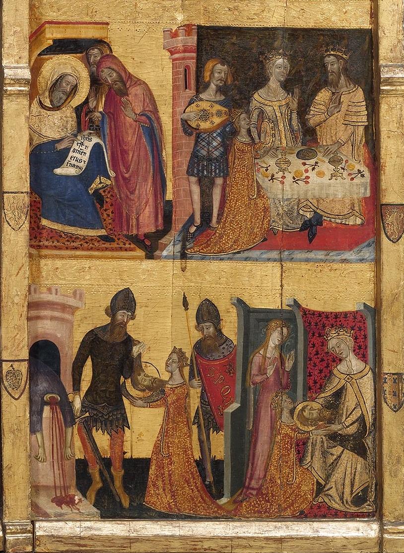 Mestre de Santa Coloma de Queralt, Retaule dels sants Joans, (detall del ball de Salomé) c. 1356, Museu Nacional d'Art de Catalunya