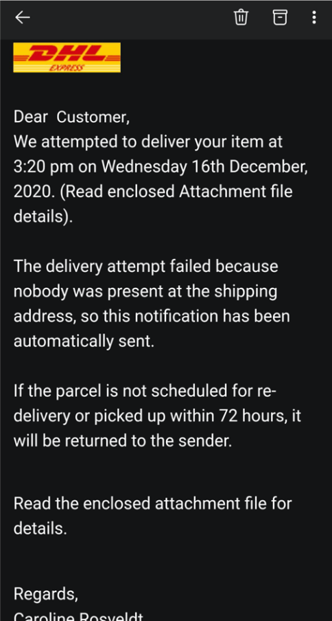 A DHL pakage delivery scam email.