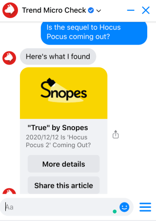 Verify information using Trend Micro Check. Source: Snopes