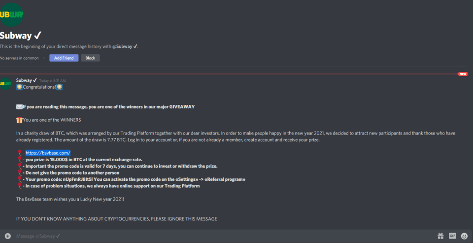 An example of Bitcoin scams on Discord. Source: Reddit