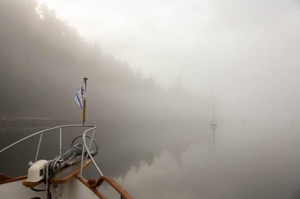 mv Archimedes foggy Montague Harbour morning 2