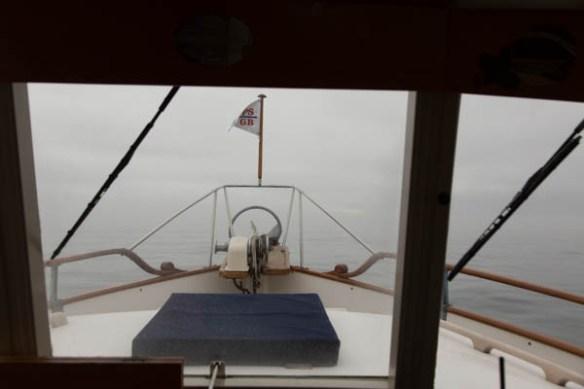 mv Archimedes in the fog at San Juan Island