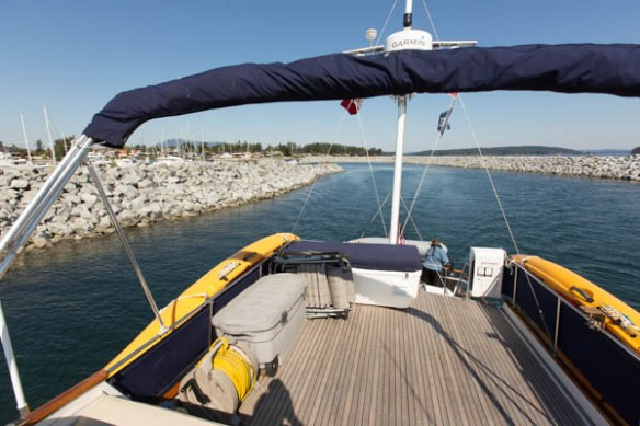 mv Archimedes leaving the Port of Sidney Marina
