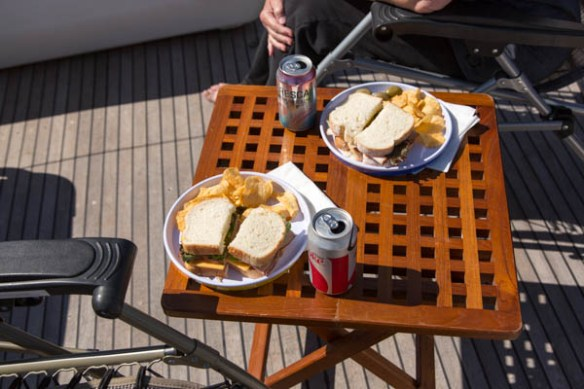 mv Archimedes lunch on the flybridge in Clam Bay