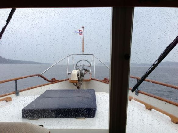 mv Archimedes motoring along in the rain