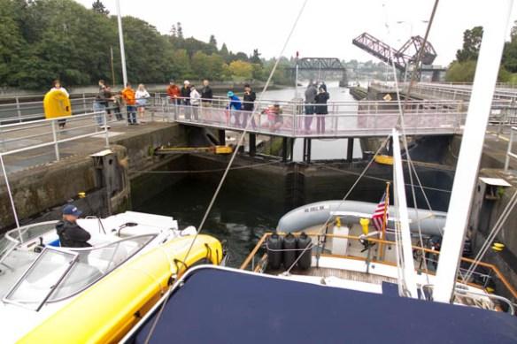 mv Archimedes returning through Chittenden Locks 3
