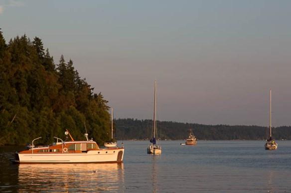 mv Archimedes sunset at Blake Island
