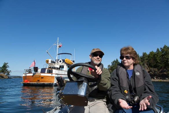 mv Archimedes Kim and Bruce dinghy ride