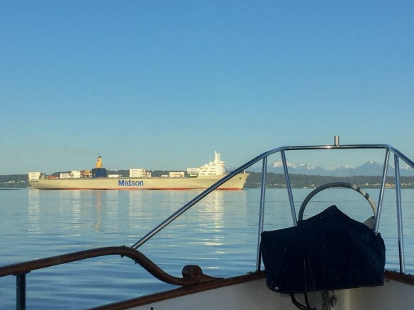 mv Archimedes headed back through Agate Passage from Seaview West
