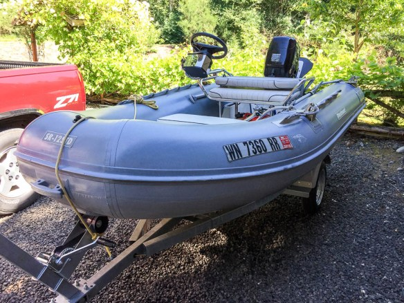 mv Archimedes clean and shiny dinghy