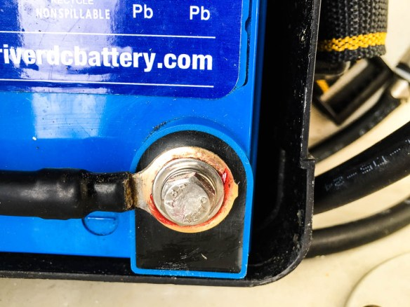 mv Archimedes dinghy battery after cleaning