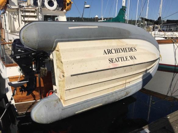 mv Archimedes dirty dinghy bottom