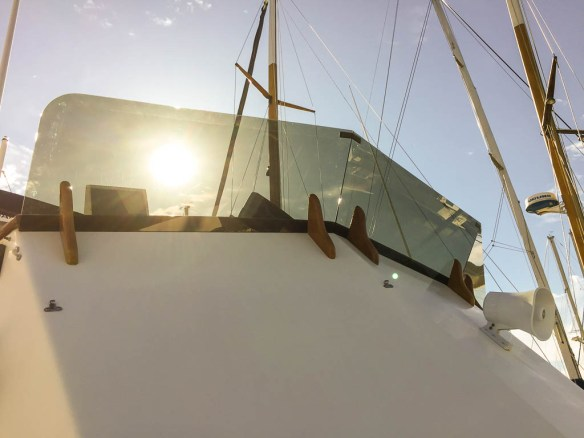 mv Archimedes new windscreen on flybridge