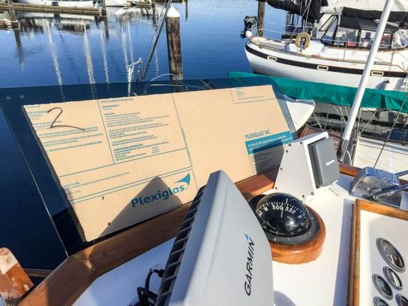 mv Archimedes test fitting new windscreen