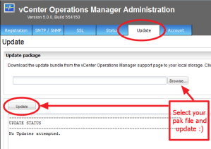 vCenter Operations Update Tab