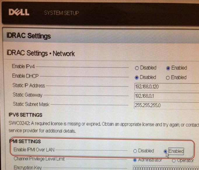 iDRAC IPMI settings
