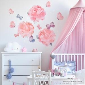 Rosa Mächenzimmer mit Stoff-Wandtattoos Rosen