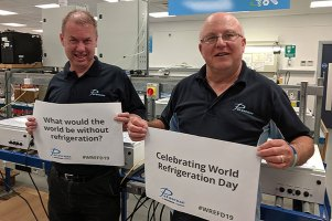 Alan Thomas and Stephen Rixon celebrate World Refrigeration Day at Parasense's offices in Gloucester, UK.