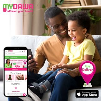 a dad using the MYDAWA app on their phone.