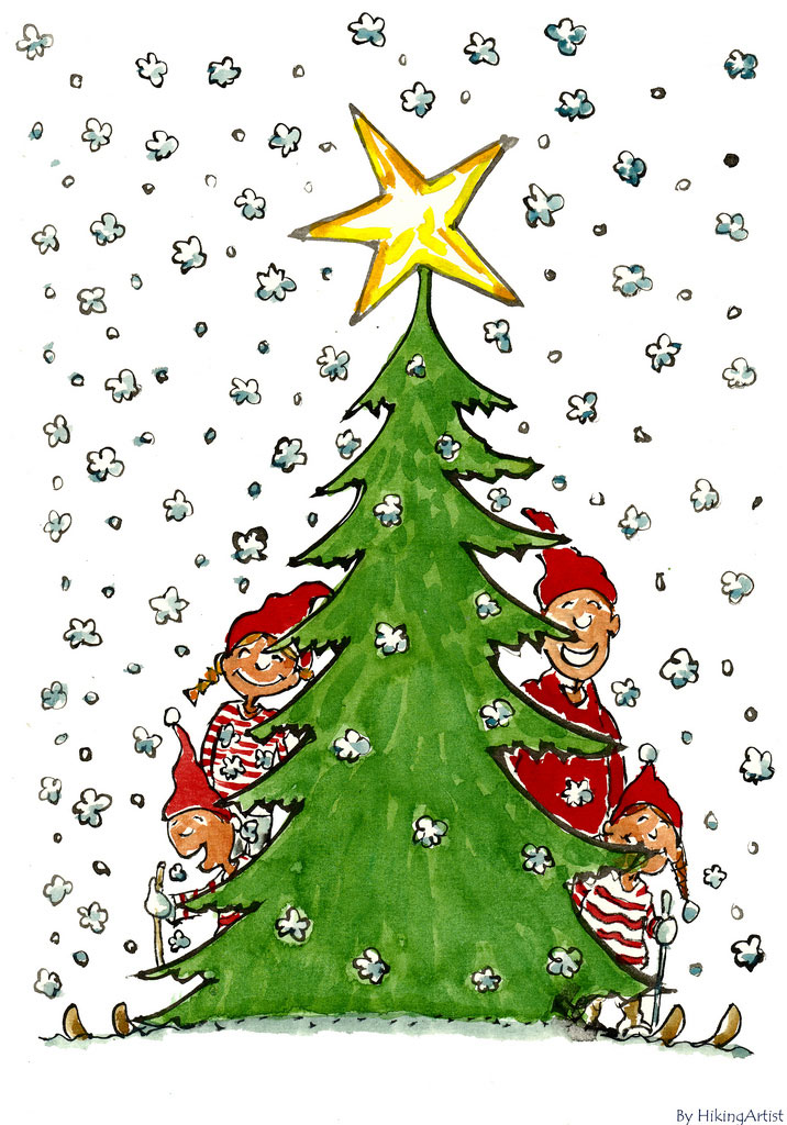 Drawing of a Family and a Christmas Tree