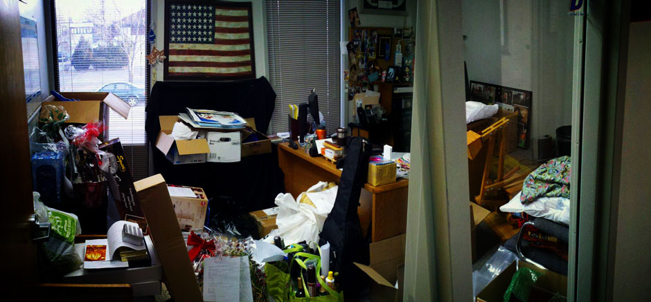 Office Full of Keep Kids Warm Donations