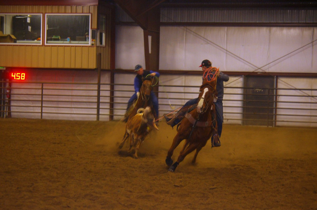 Two cowboys roping