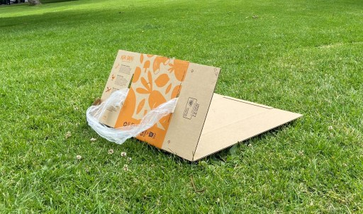 A grass sled made from a Bargain Box.