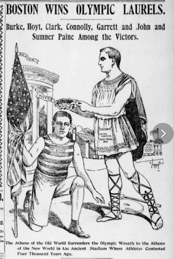 """Graphic from the Boston Post on April 11, 1896. The name """"Tom Burke"""" is written on the kneeling athlete's uniform. Courtesy of the MyHeritage newspaper collections"""