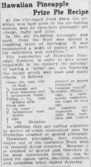 Recipe in The Boston Post, August 7, 1921. Courtesy of the Massachusetts Newspapers, 1704–1974 collection on MyHeritage