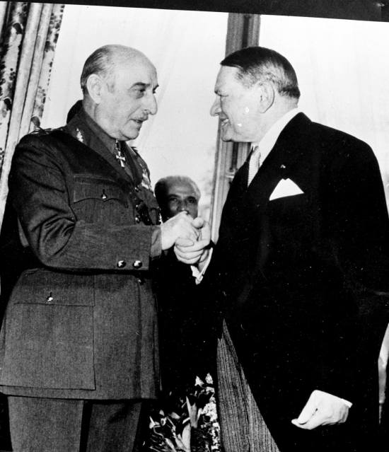 From left, Prime Minister of Greece and Field Marshal Alexandros Papagos, with Rene Coty, newly elected as President of France, January, 1954 [National Archives and Records Administration]