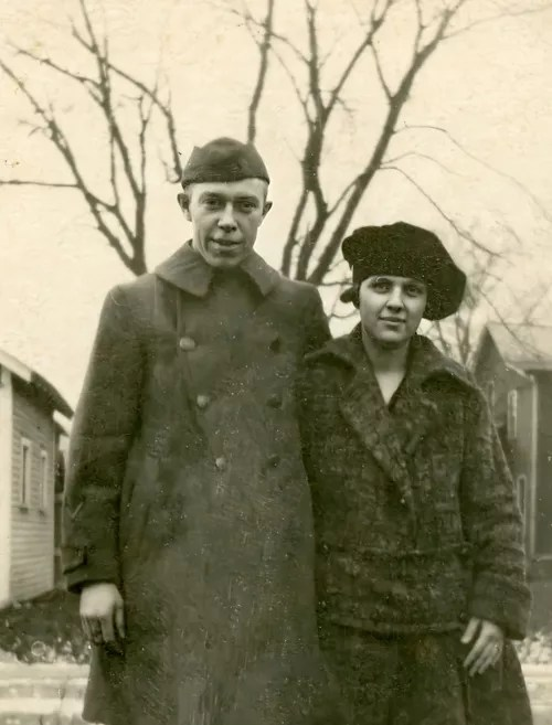 Linda's grandparents, Roy H. Evans and Jennie Finn Evans, in May of 1918