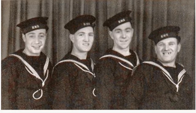 Sailors from the H.M.S. Repulse. Billy McGuire is at the far right. [Credit Ken McGuire]