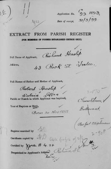 Birth record of Jamie's great-grandfather, Richard Heaslip