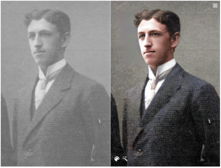Photo of Simon Olson enhanced and colorized with MyHeritage's photo tools. See the incredible difference!