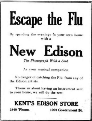 Spanish Flu Retail: An ad for Kent's Edison store from October 1918