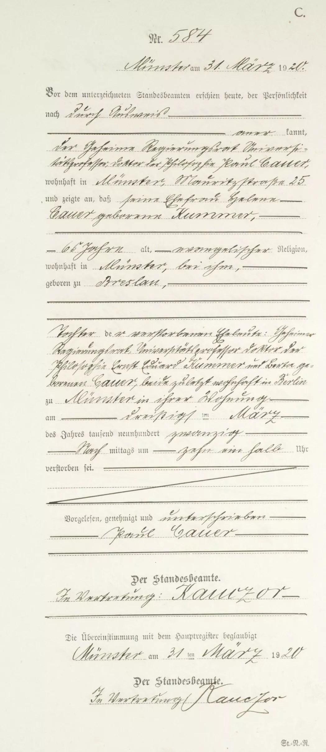 Death Record of Helene Kummer Cauer [Credit: MyHeritage Germany, North Rhine Westphalia, Death Index 1870–1940]